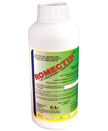 Insecticide in Kneya, Insect control on crops, ROMECTIN 1.8EC