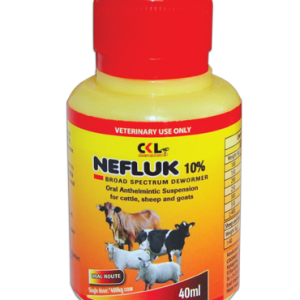 Use Nefluk 10% to control Liverflukes, lungworm , Tapeworms, Hookworm and other internal worms in Cattles, Sheeps and Goats